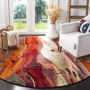 Safavieh Glacier Collection GLA126A Modern Abstract Non-Shedding Stain Resistant Living Room Bedroom Area Rug, 5'3″ x 5'3″ Round, Red / Multi