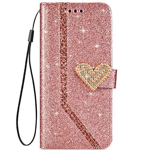 Qjuegad Compatibile con Huawei P10 Lite Custodia Antiurto Glitter Strass Portafoglio Protettiva Custodia a Libro in Pelle Magnetica Protettiva Case con Funzione di Supporto, Oro Rosa