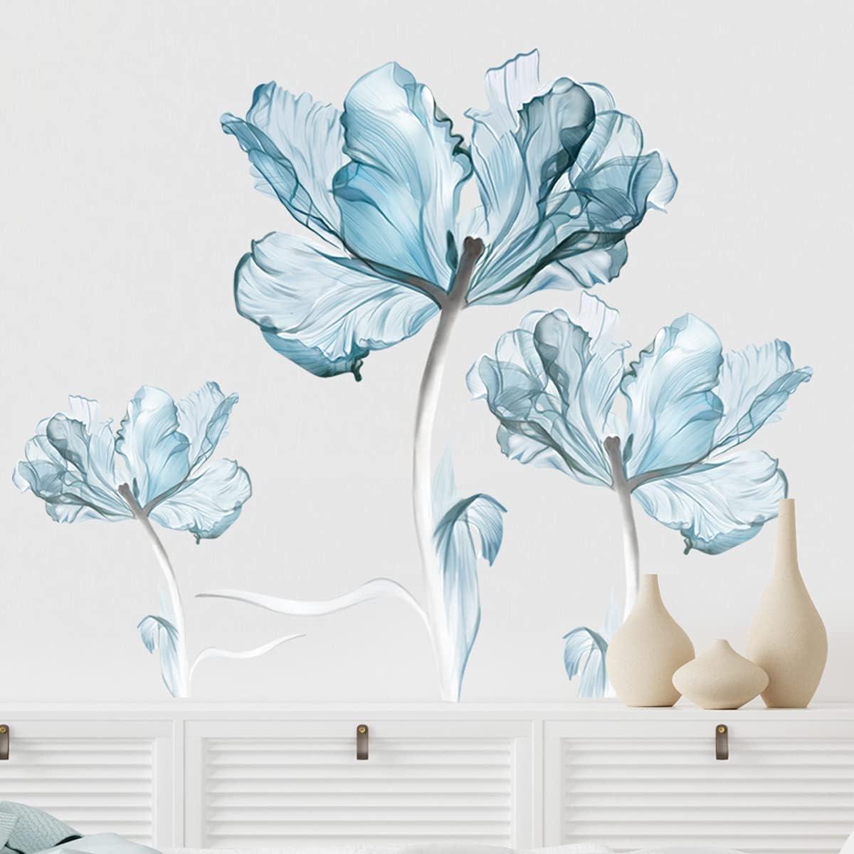 FAIRY KAARI OFFicial site 3D Blue New item Dream Stickers Wall Removab Creative Flower