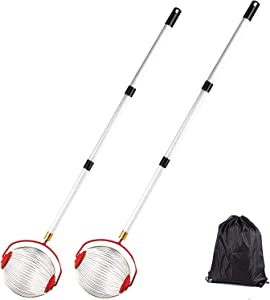 GEEZO 2 Pack Nut Gatherer, Rolling Nut Harvester Ball Picker, Adjustable Lightweight Outdoor Manual Tools Picker Collector Walnuts Pecans Crab Apples and Ball 1'' to 3'' in Size (9.4in 2PCS)