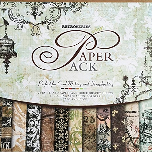 S&B 27 Sheets Scrapbook Vintage Paper Book Pad 12' x 12' Classic Origami Wrapping Card Making Alphabet/Photo Frame Album Creative Handmade Decorative Die Cuts Background