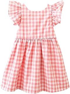 06e4fed502 Willsa Baby Dress, Infant Girls Plaid Print Bowknot Strap Backless Flare  Sleeve Princess Dress