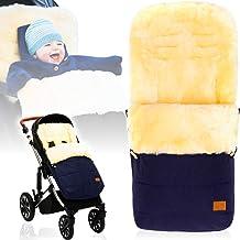 Winterfußsack/Fußsack 100% ECHTES LAMMFELL für Kinderwagen/Buggy/Jogger Kinderwagenfußsack MARINE MELANGE