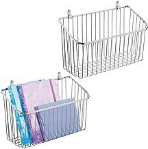 mDesign Zestaw 2x pojemne półki druciane do przechowywania – Metalowy organizer wiszący do kuchni, łazienki, przedpokoju, ...