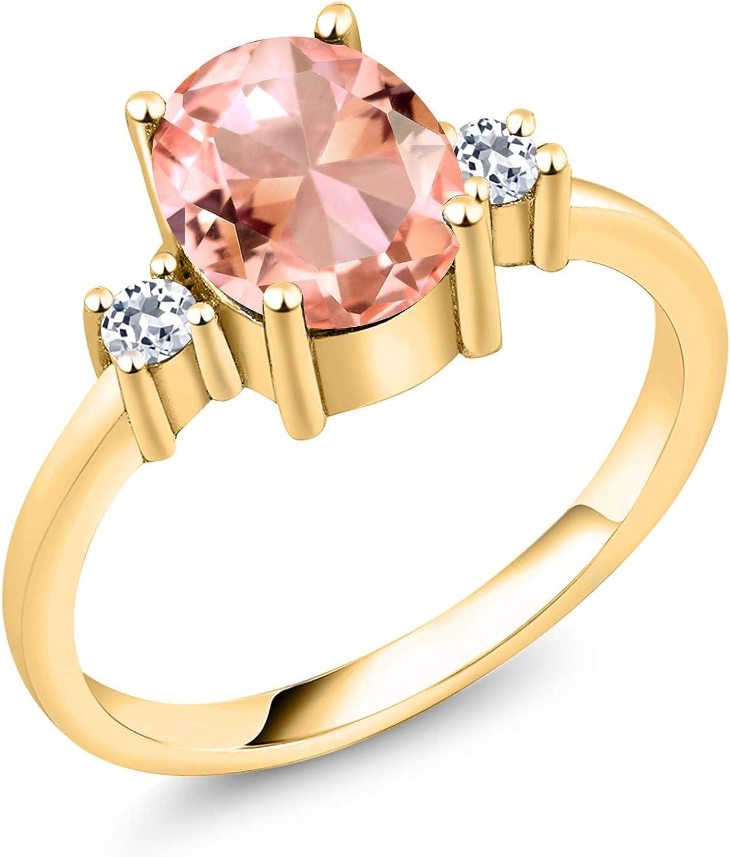 Gem Great interest Stone King 2.17 Ct Oval Topaz 18K White Luxury Nano Morganite Peach