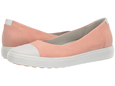ECCO Soft 7 Ballerina (White/Muted Clay Cow Leather/Cow Nubuck) Women