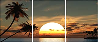 GEVES Seaside Sunset Landscape Coconut Palm Contemporary Wall Art Canvas Painting Home Wall Decor Prints Posters for Living Room Bedroom Ready to Hang