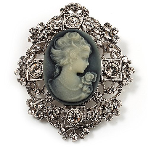 Avalaya Heiress Filigree 'Cameo' Brooch (Antique Silver Finish)