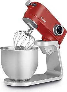 Robot Pétrin Professionnel Multifonctions 5L H.Koenig KM124 Inox rouge mat Puissant 800W, Robot Cuisine Pâtissier Pétrin 8...