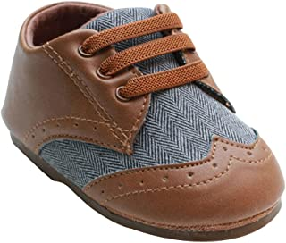 Kuner Baby Boys Brown Pu Leather Canvas Rubber Sole Outdoor First Walkers Shoes 6-24 Months