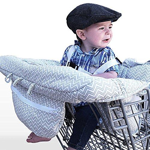 LeRan Baby Einkaufswagen Abdeckung Universal Kleinkind Hochstuhl und Warenkorb Kissen mit Tragetasche, waschbar Kinderwagen weicher Organisatoren, Kindersicherheit (grau)