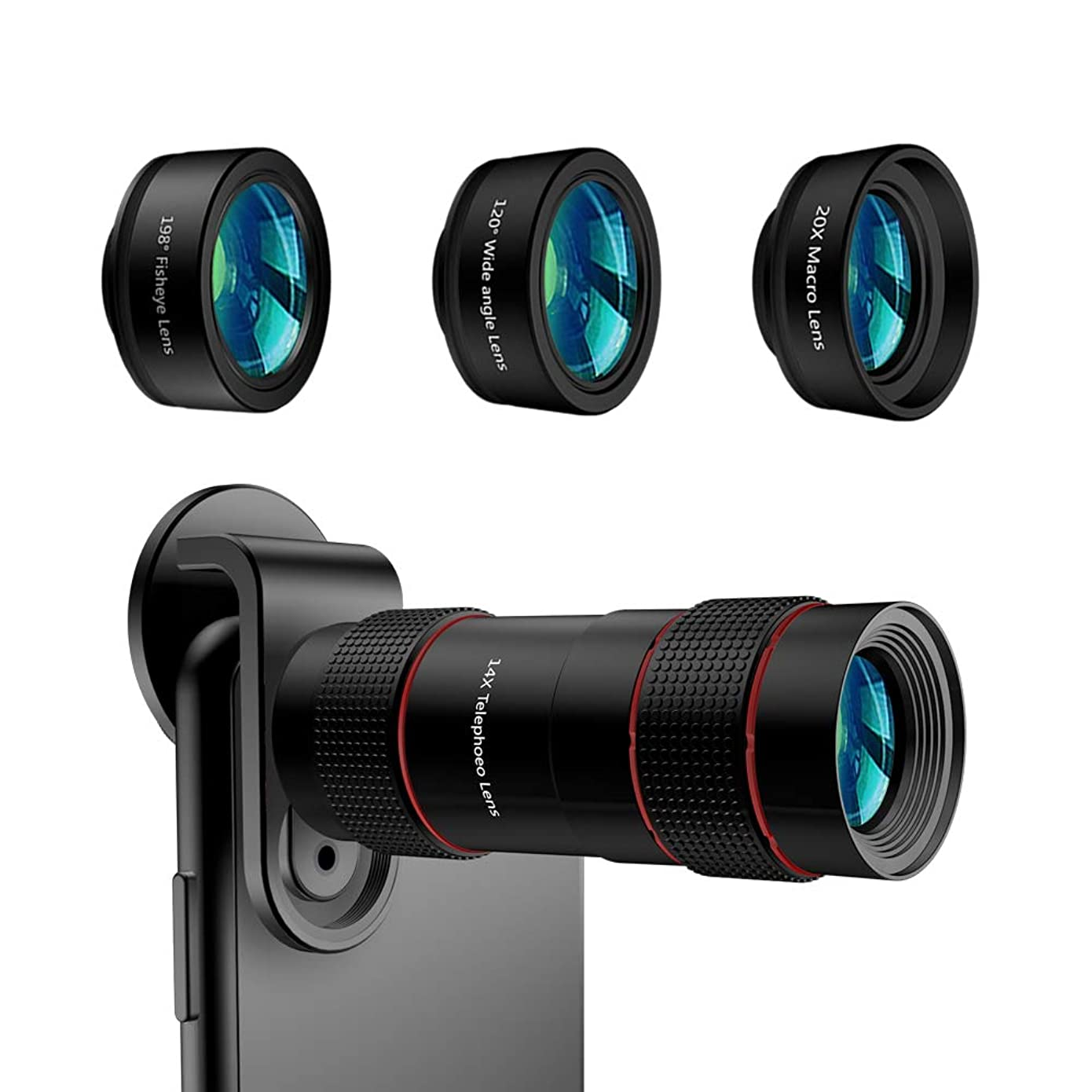 Cell Phone Camera Lens,TODI 4K HD 2 in 1 Aspherical Wide Angle Lens No Distortion Super Macro Lens,Clip-On Phone Lens Compatible iPhone,Samsung Most Andriod Phones
