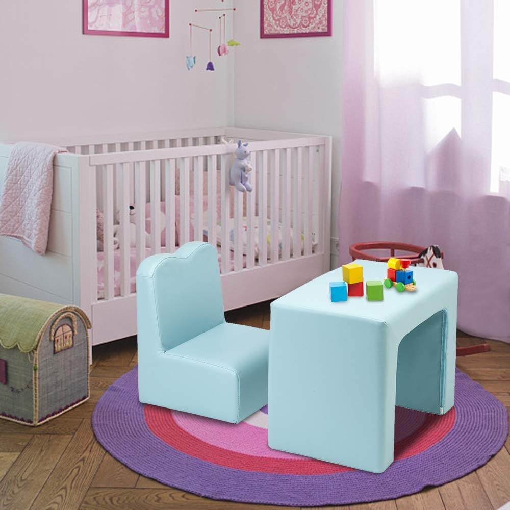 Padded Play Table and Chair Set for Girls /& Boys PVC Toddler Armchair Sofa with Compact Design Multifunctional 2 in1 Kids Sofa Blue 3 Years and Up