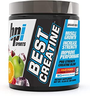 BPI Sports Best Creatine – Creatine Monohydrate, Himalayan Salt – Strength, Pump, Endurance, Muscle Growth, Muscle Definition – No Bloat – Fruit Punch – 50 servings – 10.58 oz.
