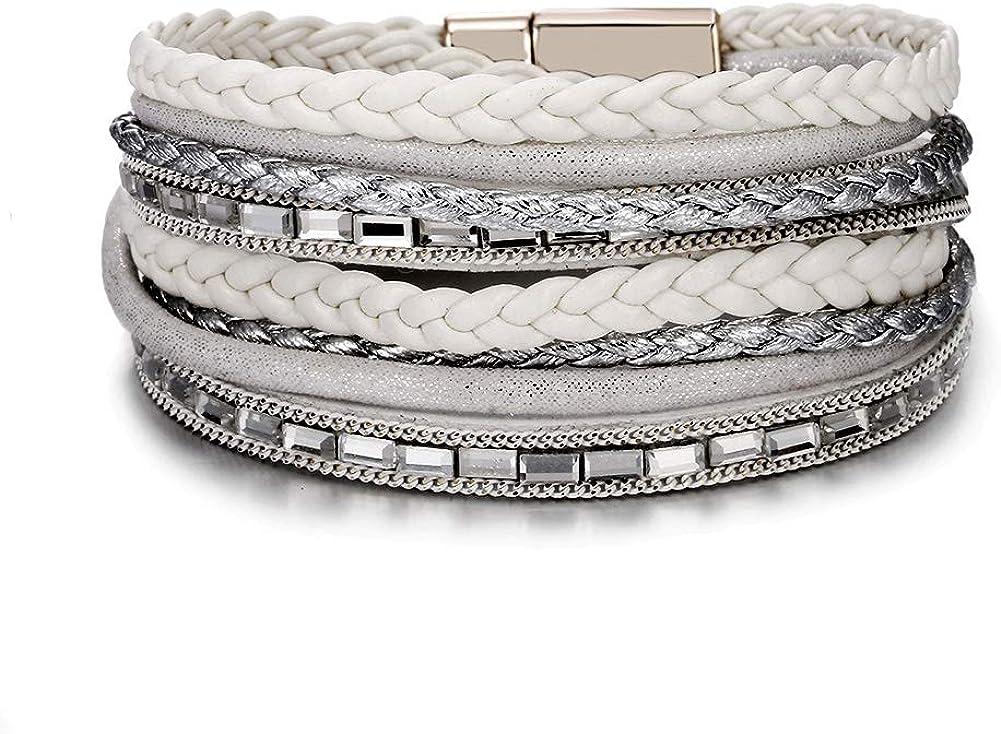 VONRU Leather Cuff Bracelets for Women - Charm Boho Handmade Braid Wrap Bracelets Wristbands Casual Braided Handmade Magnetic Bracelet Cuff