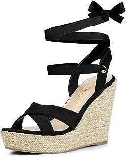 Women's Espadrille Platform Lace Up Wedges Sandals