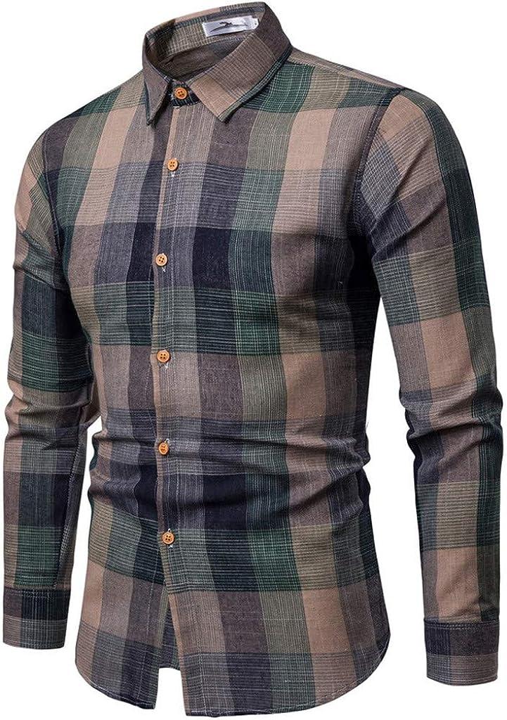 MODOQO Men's Long Sleeve Shirt, Button Down Shirt, Business Loose Fit Plaid Shirt, Lapel Cargo Shirt for Daily Work
