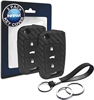 2pcs Compatible with VW Volkswagen Golf MK7 Flip 3 Button Carbon Fiber Looks Silicone Case Remote Key Fob Cover for 2015-2019 Volkswagen Golf 7 MK7 Beetle GTI Jetta Polo Tiguan Vento, Seat Ateca Leon