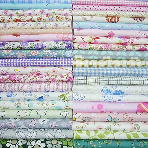 Yysz Lot de 50 coupons de tissu en coton 20 x 25 cm