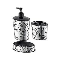 Primeway® PlastyLove Designer Bathroom Sink Dispenser, Holder, Dish, 3 Pcs Set, Ivy Foil
