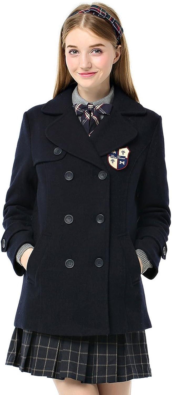 Etongenius Women Ladies Winter Warm Lapel Double Breasted Wool Blend Trench Jacket Coat Parka Overcoat Navy