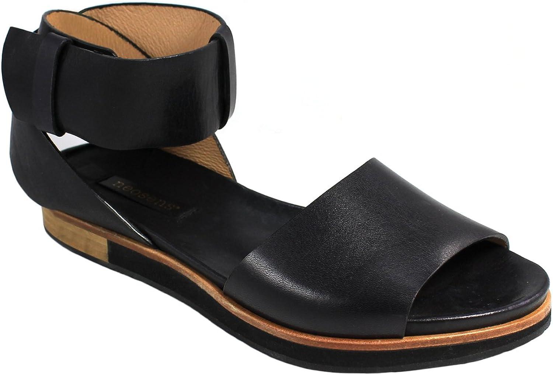 Neosens Women's Cortese Restored Skin Flat Sandals, Ebony