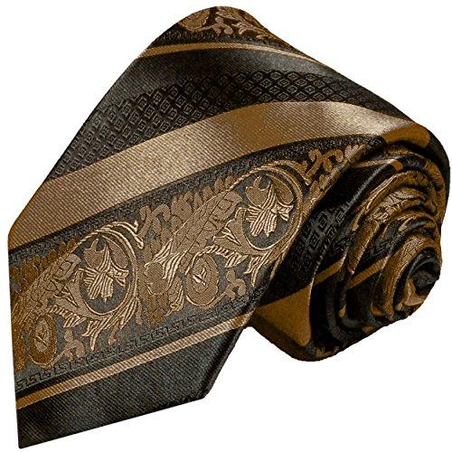 Paul Malone Krawatte 100% Seidenkrawatte braun schwarz