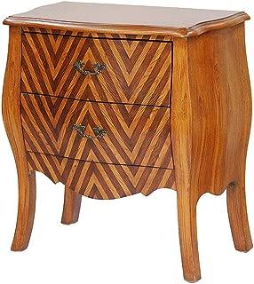 Heather Ann Creations Bombay Series Premium Wood 2 Drawer Bombay Shaped Storage Cabinet, Wood/Chevron Stripe