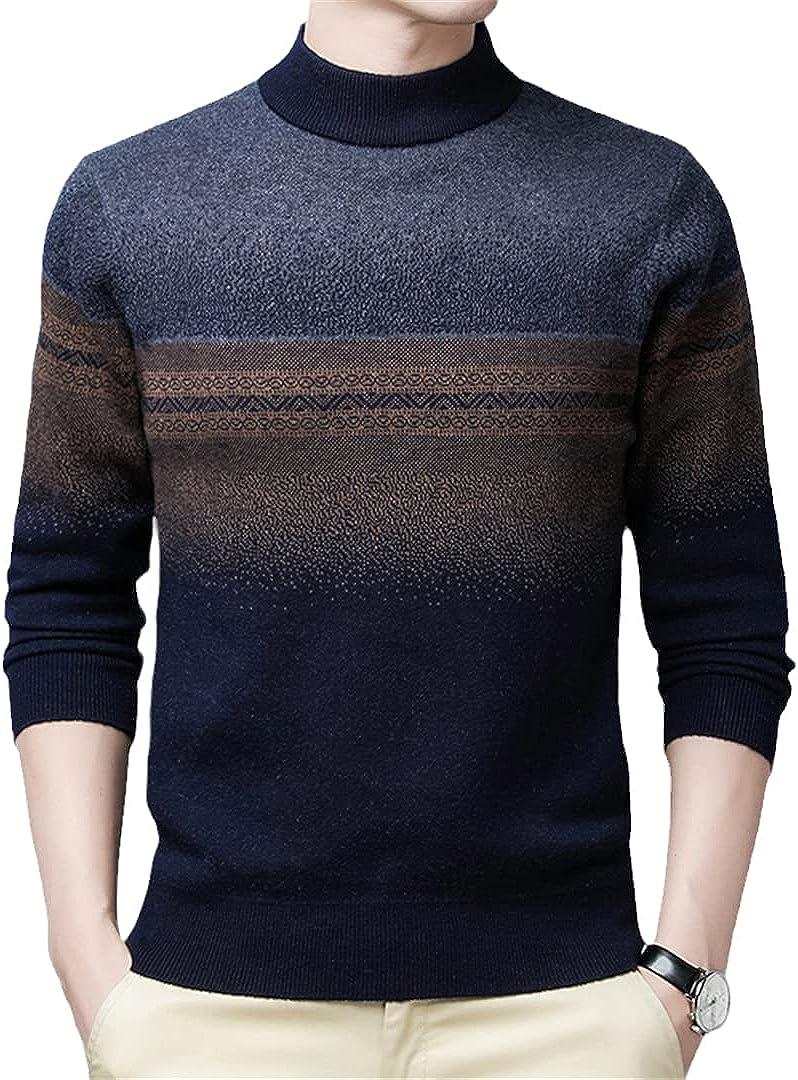 Sinubiser 2021 Men'S Winter Warm Wool Striped O-Neck Sweaters