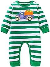 Mayunn Infant Baby Boys Girls Cotton Halloween Cartoon Pumpkin Striped Romper Jumpsuit Outfits Sets Clothes (3Months-24Months)