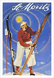 St Moritz 1930's Spring Skiing Swiss Art Deco Ski Poster - 24 x 36 inches, Comes in 2 Sizes