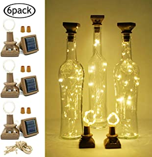 LoveNite Solar Powered Wine Bottle Lights with Cork, 6 Pack 20 LED Cork Shape Silver Copper Wire Colorful Fairy Mini String Lights for DIY, Party, Christmas, Wedding Decor (Warm White)