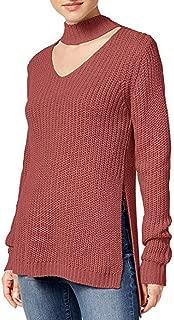 Juniors' Cutout Turtleneck Sweater - Dusty Cedar - L