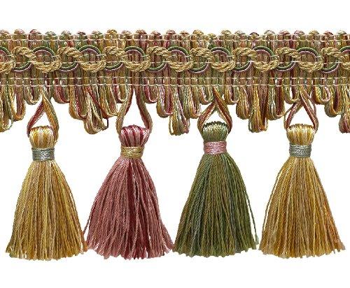 4.6 Meter Value Pack of Dusty Rose, Pastel Green, Lt Gold 7cm Imperial IITassel Fringe Style# NT2502 Color: ROSE GARDEN - 3549 (15 Ft / 5 Yards)