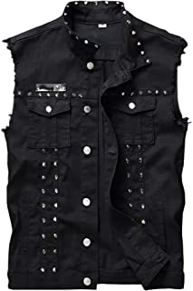 Men's Sleeveless Lapel Denim Jean Vests Jacket with Rivets