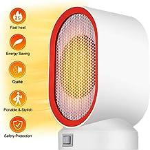 Acyon Calefactor Eléctrico de Aire Personal,Calentador Portátil PTC Elemento de Cerámica con Viento Calor y Natural para Hogar y Oficina Protección del Sobrecalentamiento Bajo Consumo Silencioso,Rojo