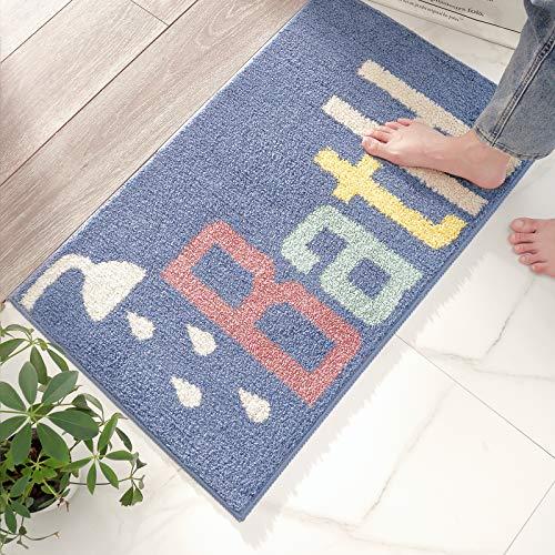 玄関マット お風呂マット バスマット 室内 浴室 洗える 玄関 洗面所 滑り止め おしゃれ シャワー ブルー 40x60cm