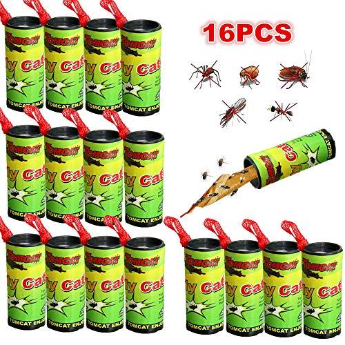 Atrapa Moscas Adhesivo Trampa Moscas Fruta 16 Rollos Atrapa Moscas Tiras Atrapamoscas Atrapa Mosquitos para Invernadero Jardin Exterior Interior No Tóxico