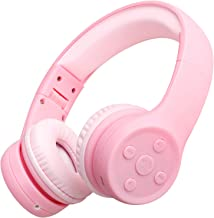 Picun Kids Bluetooth Headphones Safe Volume Limited 85dB 15 Hours Play Time Foldable Stereo Sound Headsets with Mic Wireless Headphones for Girls Children Computer Cell Phones Tablet School Game(Pink)