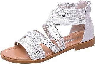 Ladies Roman Shoes Sandals Retro Large Size Cross Belt Casual Flat Back Summer Summer Zip Sandals MEEYA