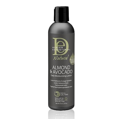 Design Essentials Natural Daily Hair Moisturizing Lotion - Moisture Rich Botanicals, Jojoba & Olive Oils - Almond & Avocado Collection, 8 Fl Oz