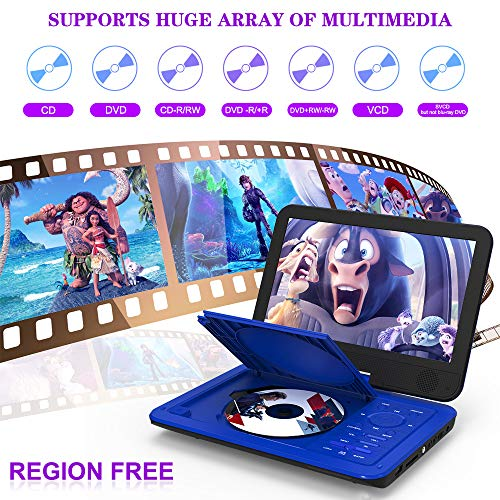 DR. J 12.5' Portable Car headrest Video Player, Region-Free Portable DVD Player 10.5' HD Swivel Screen SYNC TV Remote Control Operate, Rechargeable Battery, AV Cable Car Charger