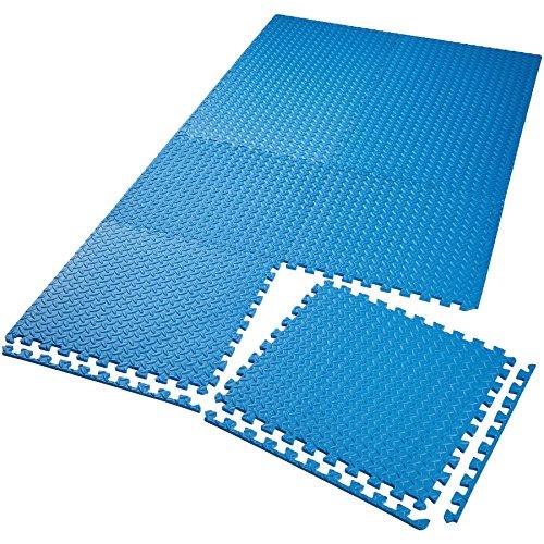 TecTake Schutzmattenset Bodenschutzmatte | rutschfest, schmutzabweisend | erweiterbares Stecksystem | Diverse Modelle (8X blau | Nr. 402655)