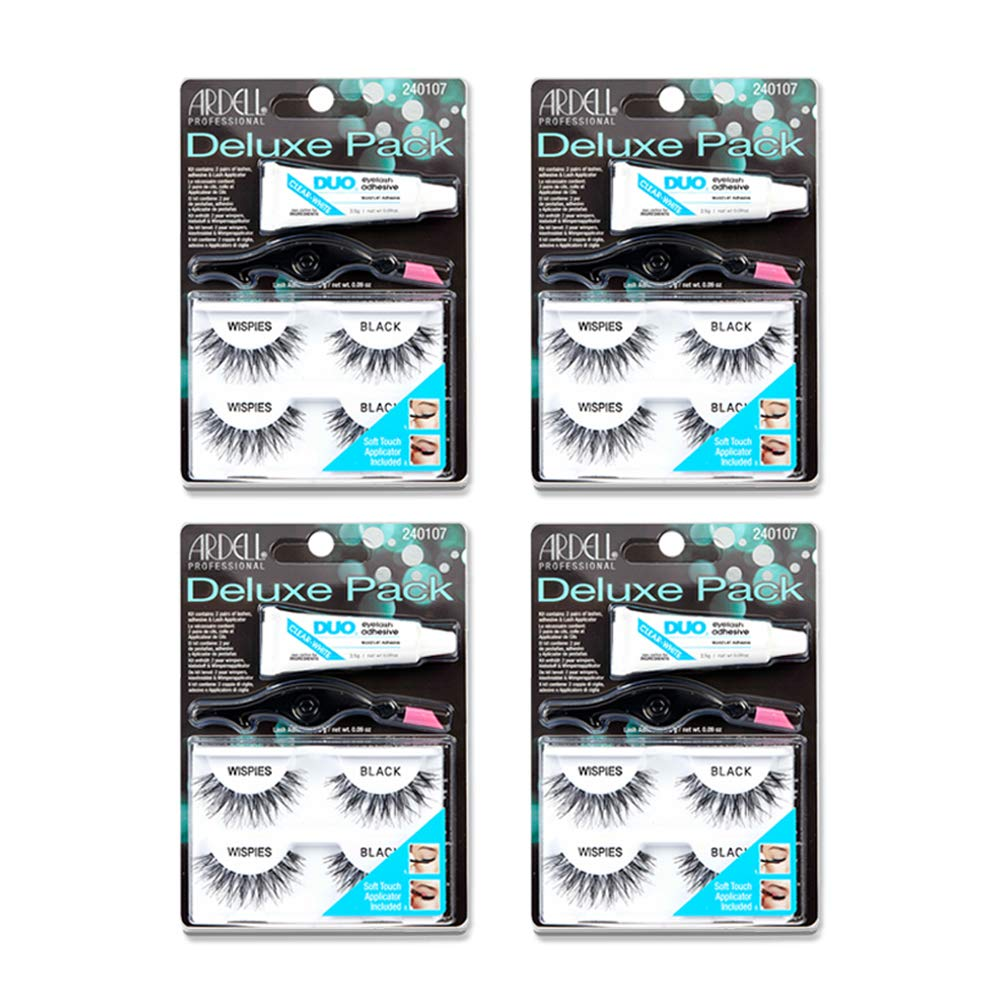 Gorgeous Ardell False Eyelashes Deluxe Factory outlet Pack Kit Wispies 4 Black
