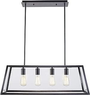 OSCREE 4-Light Kitchen Island Pendant Light Adjustable Hard Rod Transparent Acrylic Panel for Dining Room Lighting Fixtures Modern Industrial Chandelier E26 Base (Bulbs Included)