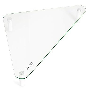 VIVO Glass Ergonomic Tabletop Riser, Triangle Desktop Universal Corner Stand for Computer Monitor and Laptop STAND-V000Q