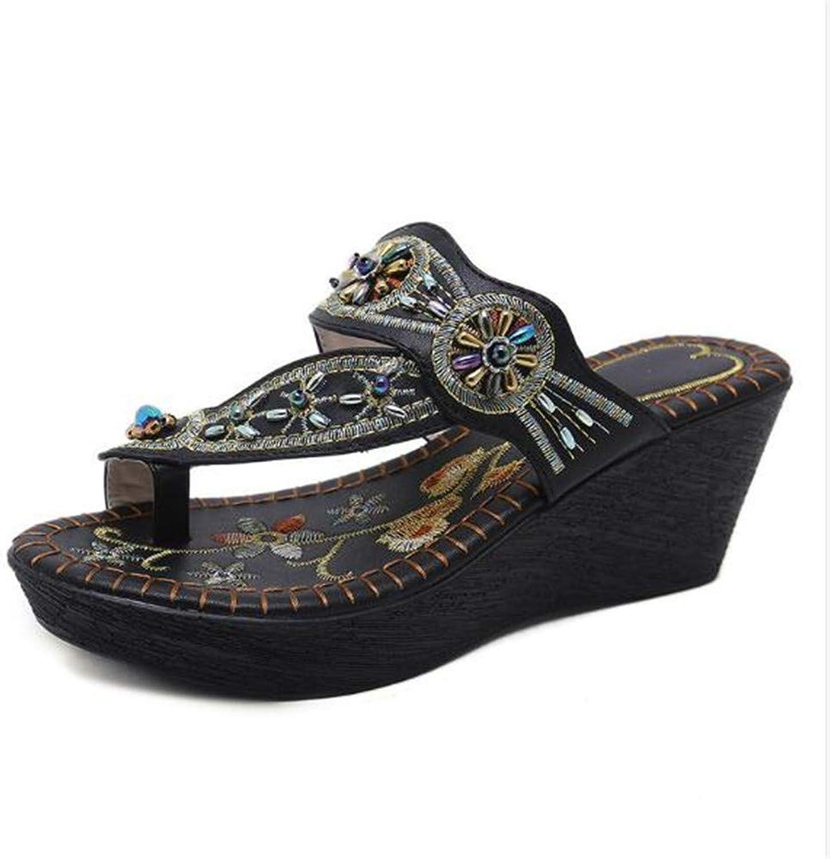 Meimeioo Women Sandals Summer Platform Flat Flip Flops shoes Wedge Sandals Boho Slippers