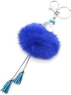 Oh My Shop PT497 - Porte-Clés/Bijou de Sac Boule à Facettes, Gros Pompon et Franges Bleu