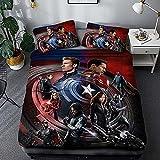 ZKDT Juego de ropa de cama de Los Vengadores, diseño de Los Vengadores, 3D, Marvel Anime, 3 piezas, 1 funda nórdica + 2 fundas de almohada (A 1,220 x 240 cm + 50 x 75 cm x2)