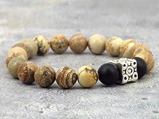 Bracciale modello azteco da uomo in perle di agata, perle di diaspro e perle tibetane.